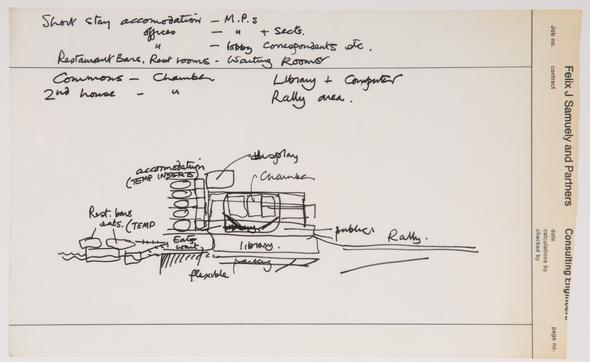 Cedric Price, Pop Up Parliament, London, England: Conceptual sketch, 1965 CCA Collection © CCA
