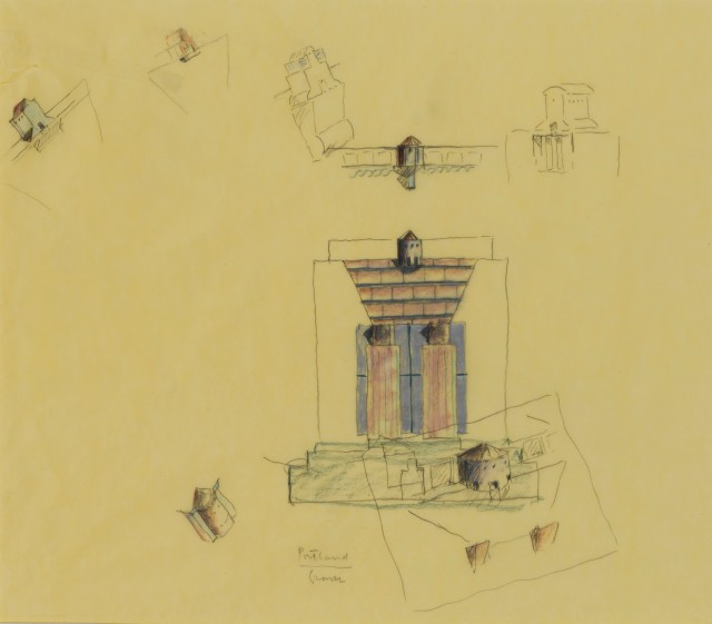 Michael Graves: Portland Building, preliminary coloured pencil study of general elevation, with perspective and other sketches for a proposed cupola, 1980